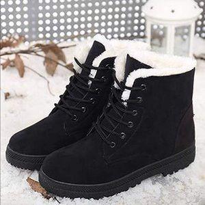 Platform Warm Fur Snow Ankle Lace Up Flat Booties